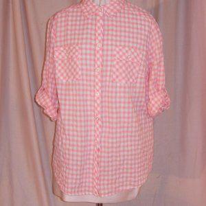Peach Gingham Checkered Cotton Blouse Shirt Top